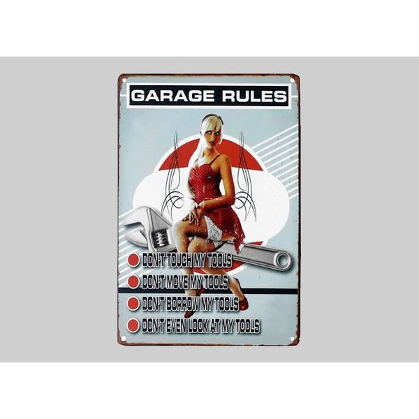 Metalen wandplaat Garage Rules - 20x30 cm #TINS007