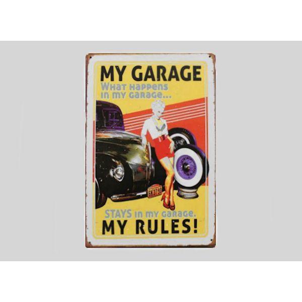 Metalen wandplaat My Garage My Rules - 20x30 cm #TINS010