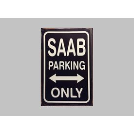 Parking Sign Saab 20x30 cm zwart / wit