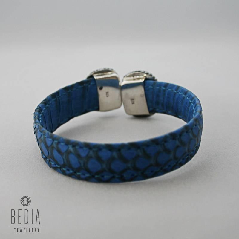 Leren klemarmband blauw