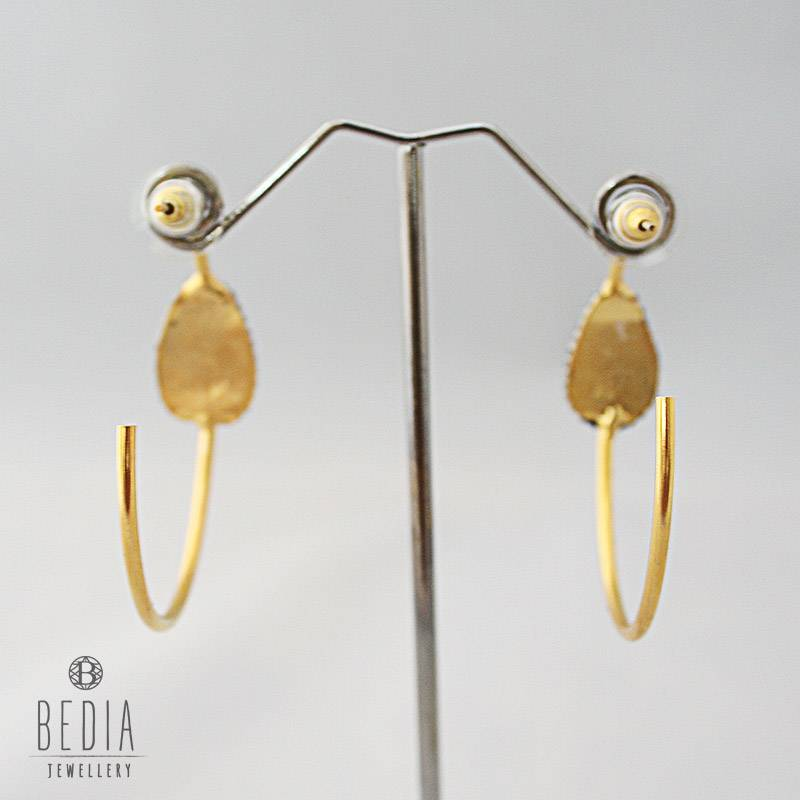 Hoops earrings grey and gold