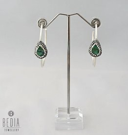 Hoops earrings silver and green