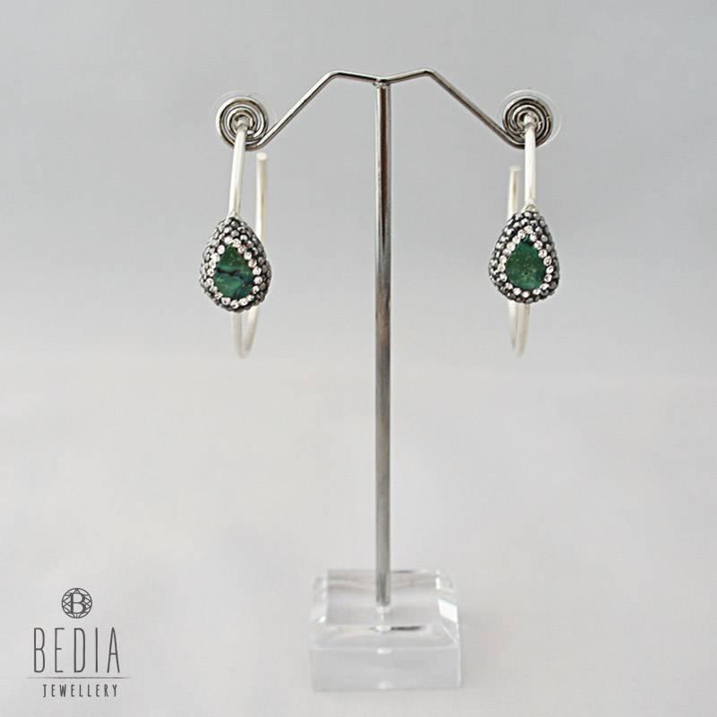 Ronde oorbellen zilver groen