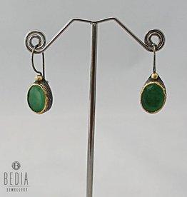 Oorbellen groen jade