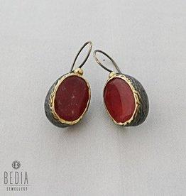 Earrings red jade