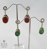 Earring red jade