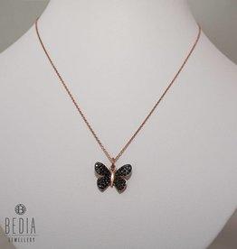 Zwarte vlinder ketting