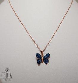 """"""" Blauwe vlinder"""" ketting"""
