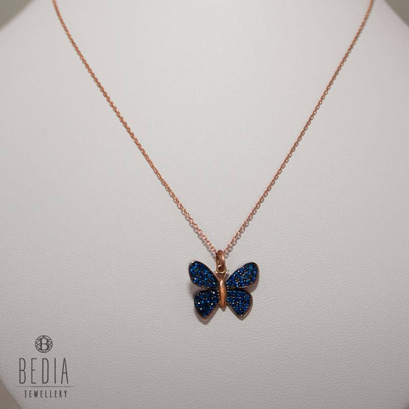 """Blue butterfly"" necklace"