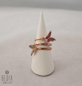 Roze en witte vlinder ring