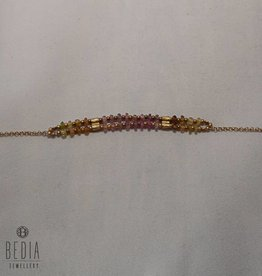 "Beads bracelet ""Pink and yellow"""