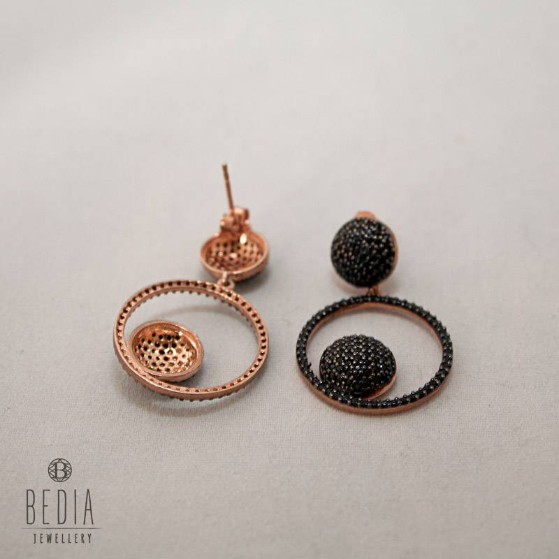 "Earrings black ""Round & Round"""