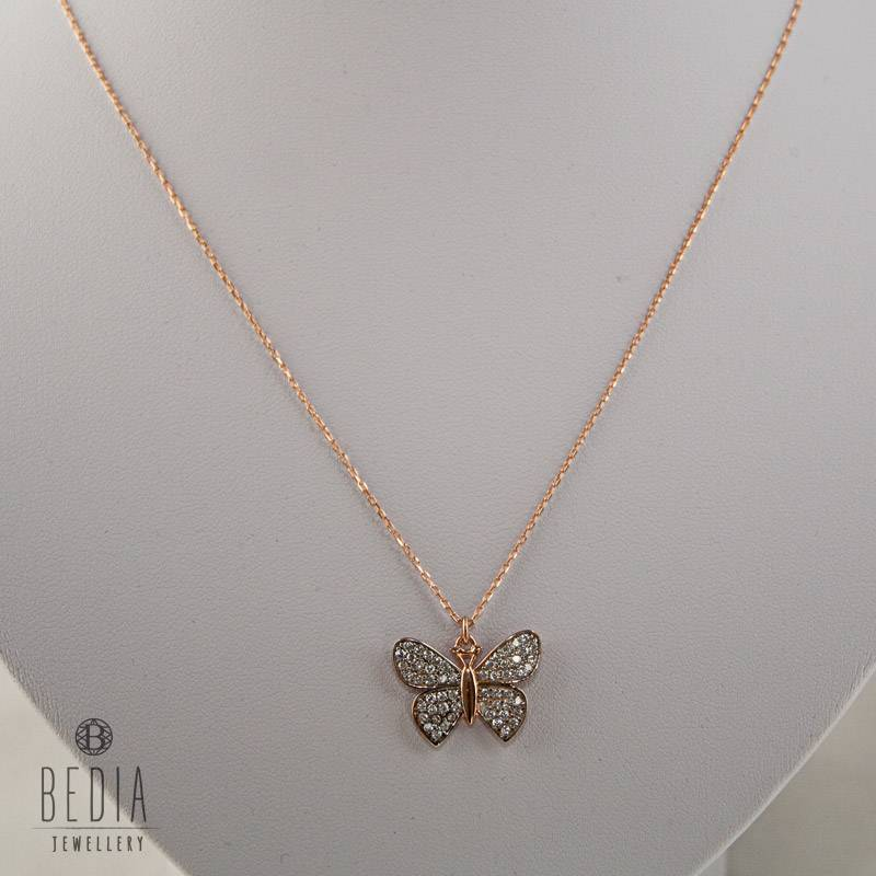 """White butterfly"" necklace"
