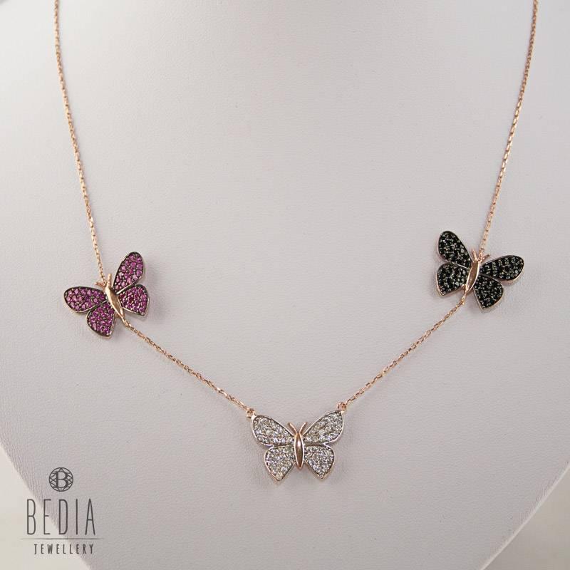 Drie vlinders ketting