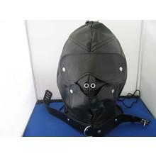 bizarre leather bdsm masker met zachte dildo