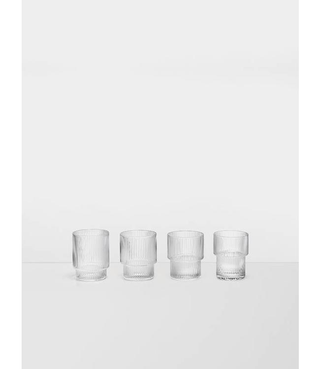 Ferm Living Ripple Glass - Set van 4