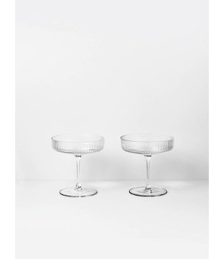 Ferm Living Ripple Champagne glazen - Set van 2