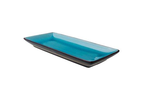 Asia Rechthoekig Bord 30x14cm Turquoise ( Set van 4 )