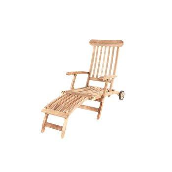 GardenTeak Deckchair met wielen
