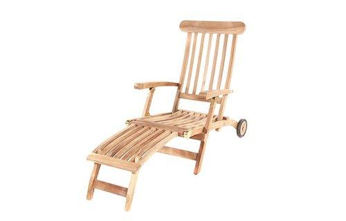 Garden Teak Deckchair | Met wielen