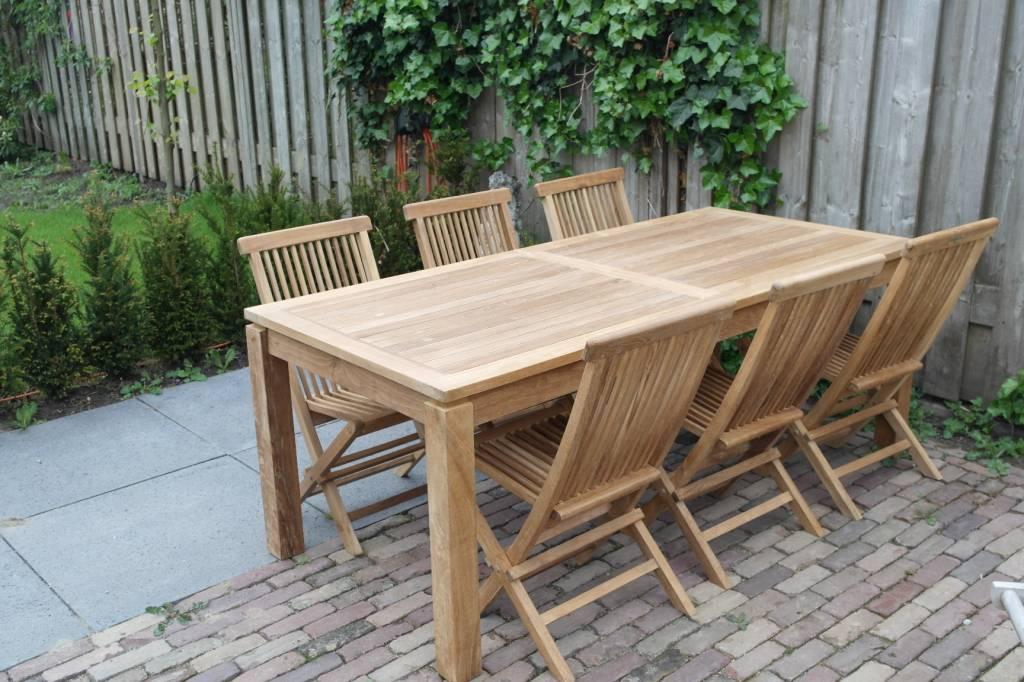 Teak tuinset Albany tafel met klapstoelen   De grootste collectie teak tuinmeubelen van Nederland
