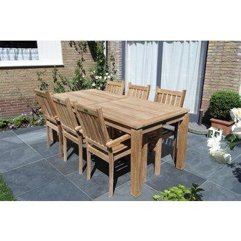GardenTeak Tuinset Albany 220cm en Edy stoelen