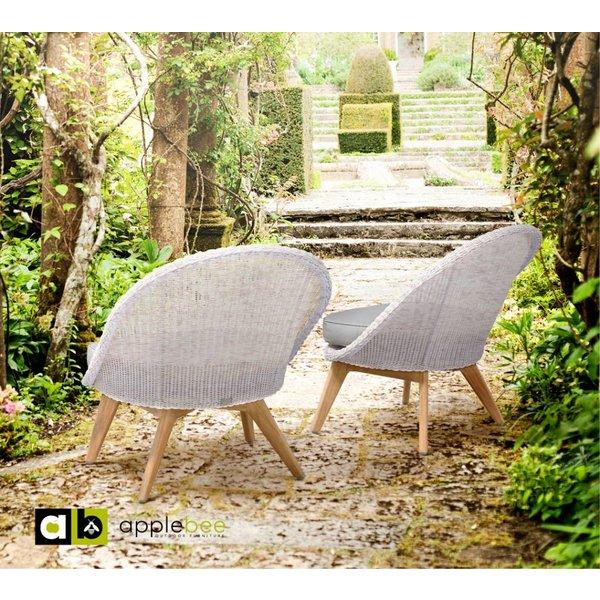 AppleBee tuinmeubelen Fleur Lounge chair met teak onderstel SVLK natural, in Antique White met Bee Wett kussen in Clay