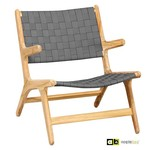AppleBee tuinmeubelen JUUL Lounge Chair met arm- Belt vlechtwerk in pavement, SVLK in Natural finish zonder kussen