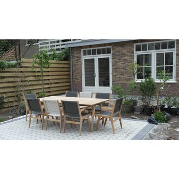 AppleBee tuinmeubelen Juul tafel 220 met Juul dining stoel