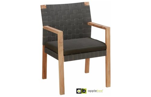 Apple Bee tuinmeubelen Square dining tuinstoel | Teak Natural | Stone black