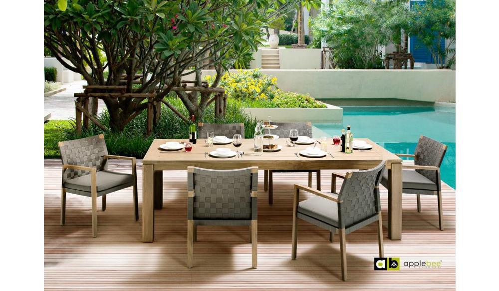 Dining tuinstoel Square   Teak natural   Stone black