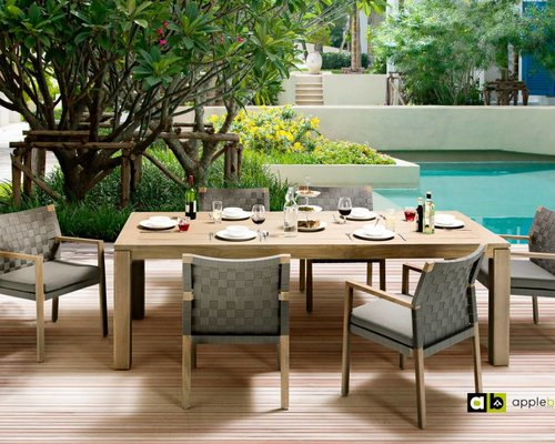 Dining tuinstoel Square | Teak natural | Stone black