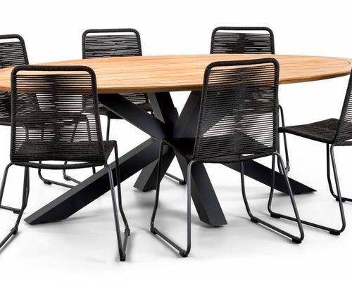 Stapelstoel Elos | Rope | Zwart - grijs