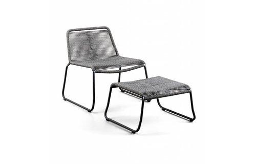 SUNS tuinmeubelen Loungestoel Elos met voetenbank | Rope