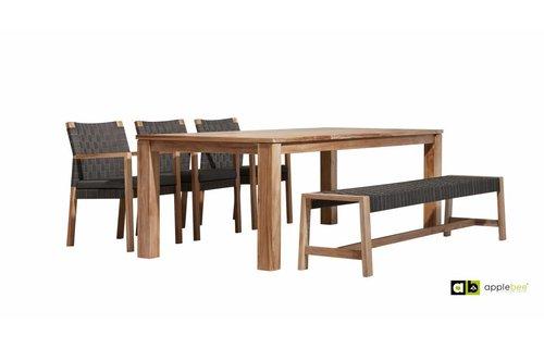AppleBee tuinmeubelen Oxford tafel 240 cm   Square stoelen   Square bank 210 cm
