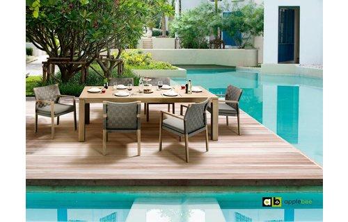 Apple Bee tuinmeubelen Oxford tafel 240 cm | Square stoelen | Pavement
