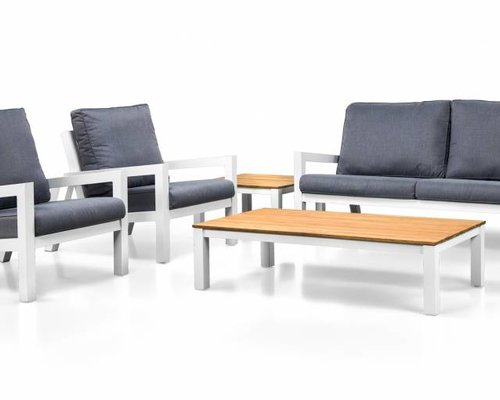 Loungeset Lago | Wit | Loungebank en 2 stoelen