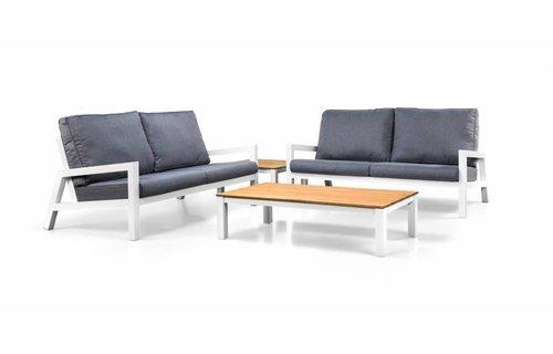 SUNS tuinmeubelen Loungeset Lago | Wit  | 2 loungebanken en salon tafel