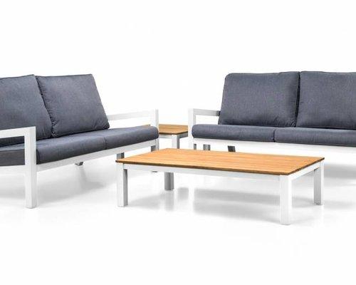 Loungeset Lago | Wit | 2 loungebanken en salontafel - Copy