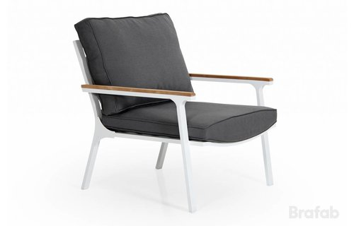 Brafab Loungestoel Olivet   Wit/grijs