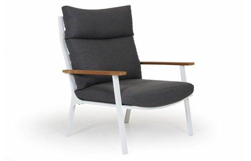 Brafab Loungestoel Olivet | Hoge rug | Wit/grijs