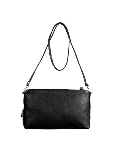 Caught by Eef Black Leather Hand bag | Jackie's Shiny Night Springbok