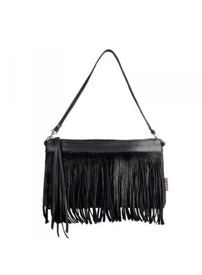Caught by Eef Black Leather Handbag | Jackie's Sparkle at Night Springbok