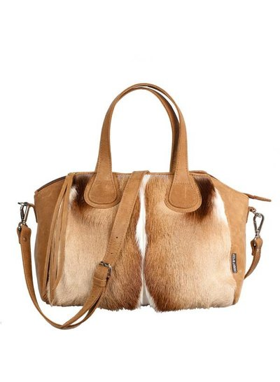 Caught by Eef Camel Leather Handbag | Audrey's Happy 24/7 Springbok
