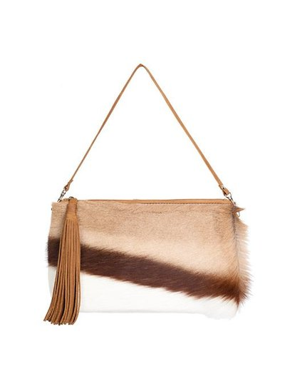 Caught by Eef Camel Leather Handbag | Audrey's Shiny Day Springbok