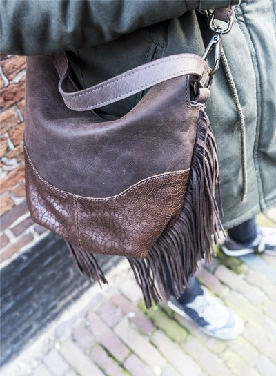 Caught by Eef Brown Leather Handbag | Claudia's Dolce Mudcrack
