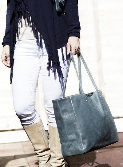 Caught by Eef Blauw Leren Shopper   Grace's Fabulous XL