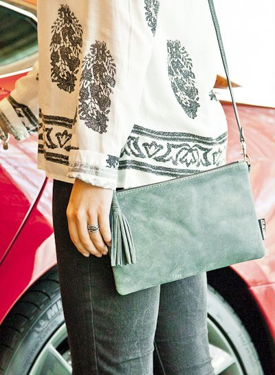 Caught by Eef Blue Leather Clutch | Grace's Ocean Mini