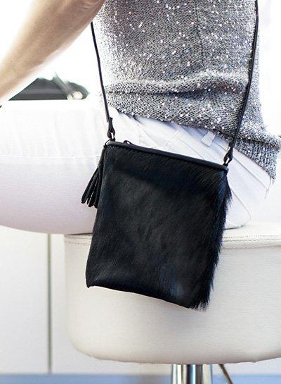 Caught by Eef Black Springbok leather Shoulder Bag | Jackie's Petite Necessity