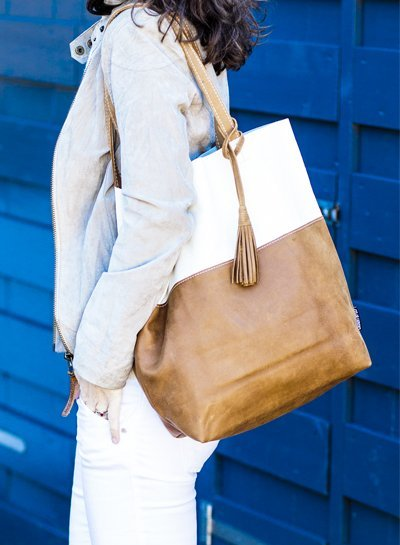 Caught by Eef Camel Leather Shopper | Lena's Cappuccino